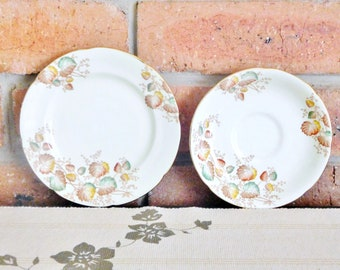 ABJ Grafton China English bone china replacement saucer and side plate, bread plate, 1930s, Woodville pattern