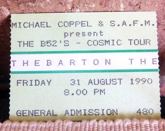 B52s 1990 concert ticket stub, Thebarton Theatre Adelaide, South Australia, collectable