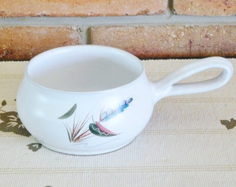 Denby Stoneware Greenwheat handled serving dish signed by Albert College 1950s