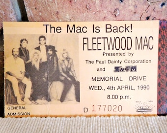 Fleetwood Mac 1990 Memorial Drive Adelaide pictorial concert ticket stub, collectable