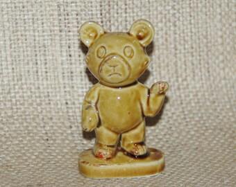 Japanese bone china teddy bear figurine, honey glaze, 1960s kitsch collectable