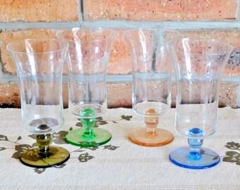 Harlequin etched parfait dessert glasses, pedestal set of 4, vintage 1960s, party service, gift idea