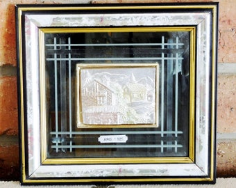 Vintage Creazioni Artistiche 3D sterling silver framed wall art, cottage scene with mountains, made in Italy 1980s