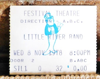 1978 Little River Band vintage concert ticket stub, Festival Theatre Adelaide, South Australia, collectable