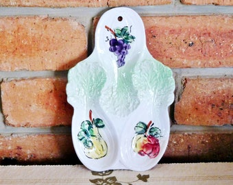 Japanese ceramic vintage 1960s spoon rest, fruit vegetable theme, kitchenalia, gift idea