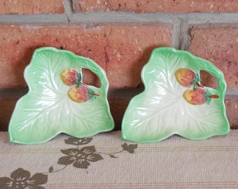 Shorter & Son of Staffordshire vintage 1950s leaf shape porcelain pin dishes
