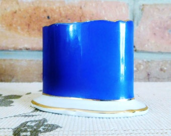 Royal Bayreuth porcelain 1930s gilt edged cobalt cigarette server, toothpick holder, card holder, gift idea