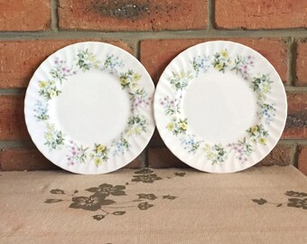Minton Spring Valley fine bone china entree side plates 1970s, high tea