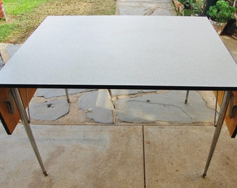 1950s vintage retro laminate drop leaf kitchen dining table, chrome legs PICK UP ONLY