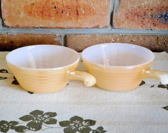 Fire King peach lustre ramekins, vintage 1960s, soup bowls, casserole dishes with handles, tableware, gift idea
