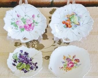 Japanese porcelain leaf-shaped pin, trinket dishes, butter pats, fruit and floral designs, mid century, high tea, gift