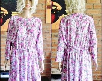 1980s vintage pink rose floral long sleeved day dress, mid length, belted, spring, summer, garden party, size 16-18