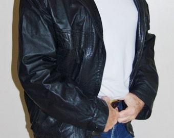 Roger David vintage mens black leather biker punk goth casual bomber jacket size L