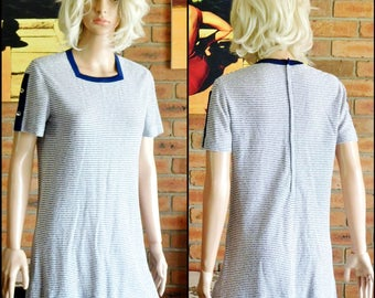 Woolcock's of Reynella 'Monici of Parma' vintage 1980s short sleeved blue and white striped stretch knit cotton top size 12