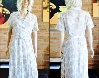 Collette of Sydney 1950s pleated, waisted cotton day dress with belt, size W, 14-16