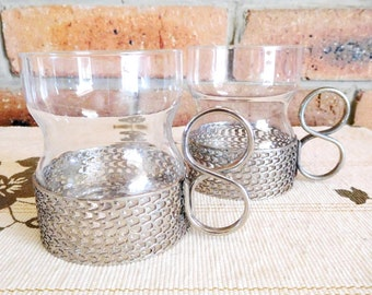 Metal tea glass holders with drinking glasses, iced tea, warm drinks, cold drinks, 1960s