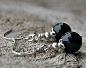 Black Tourmaline//925 Sterling Silver Earrings