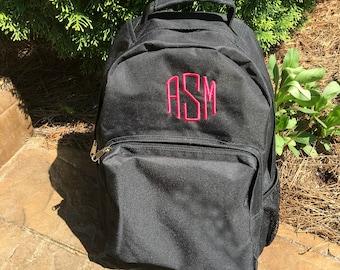Personalized backpack - Monogrammed backpack - laptop case- Black, Red, or Navy Blue