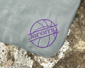 Basketball blanket- Personalized Basketball Fleece Blanket -  Personalized Name - Senior night gift - Many team Colors available