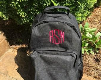 Backpack - Back pack - Monogrammed backpack - laptop case- Black, Red, or Navy Blue