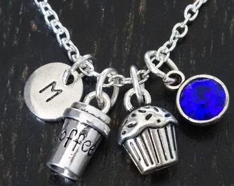 Coffee Cupcake Necklace, Coffee Charm, Coffee Pendant, Coffee Jewelry, Cupcake Necklace, Cupcake Charm, Cupcake Pendant, Coffee Lover Gift
