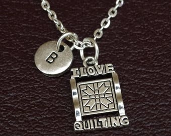 I Love Quilting Necklace, Quilting Jewelry, Quilting Pendant, Quilting Charm, Sewing Necklace, Sewing Jewelry, Quilter Necklace,Quilter Gift