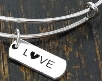 Love Bangle Bracelet, Adjustable Expandable Bangle Bracelet, Love Charm, Love Pendant, Love Jewelry, Valentines Day Gift, Anniversary Gift