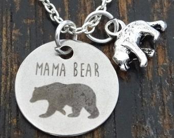 Mama Bear Necklace, Mama Bear Charm, Mama Bear Pendant, Mama Bear Jewelry, Momma Bear Necklace, Momma Bear Jewelry, Mama Bear Baby, Mom Gift