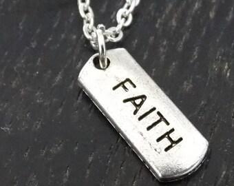 Faith Necklace, Faith Charm, Faith Pendant, Faith Jewelry, Religious Necklace, Religious Jewelry, Spiritual Necklace, Christian Necklace