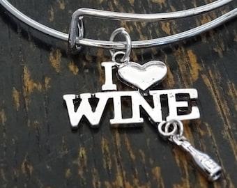 I Love Wine Bangle Bracelet, Adjustable Expandable Bangle Bracelet, Wine Bracelet, Wine Lover Bracelet, Wine Lover Gift, Wine Lovers