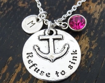 Refuse to Sink Necklace, Refuse to Sink Necklace Charm, Nautical Necklace, Nautical Jewelry, Anchor Necklace, Nautical Anchor, Sailor Gift
