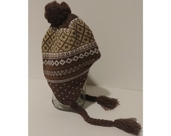 b32f97908bb Adult Earflap Beanie - Brown and White Vintage Design