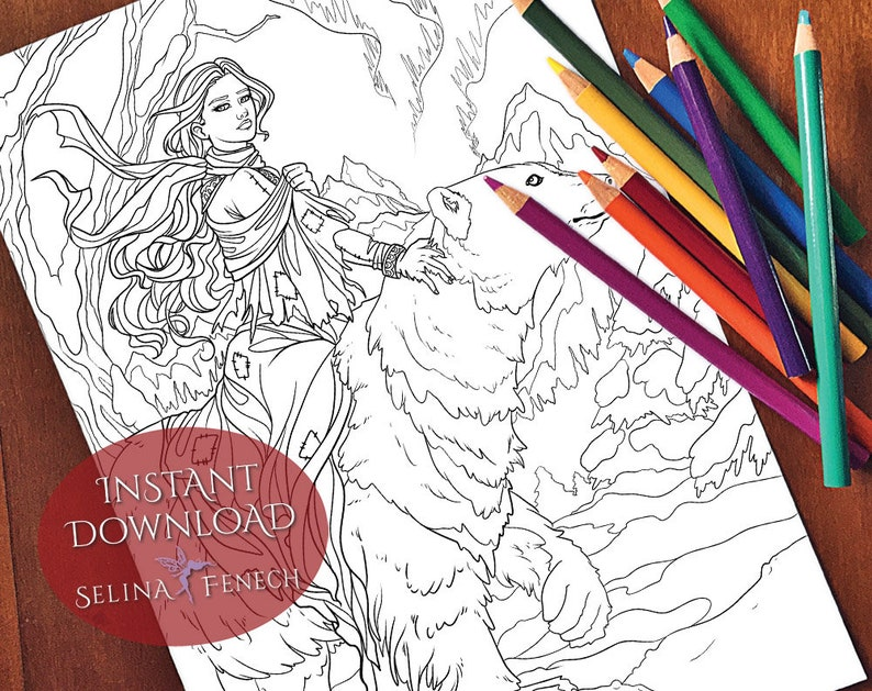 East of the Sun and West of the Moon Fairy Tales Princesses and Fables Coloring PageDigi Stamp Fantasy Printable Download by Selina Fenech