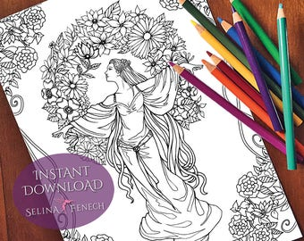 Goddess Antheia Coloring Page/Digi Stamp Fantasy Printable Download by Selina Fenech