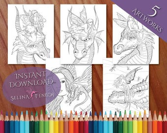 Beautiful Fairies and Dragons Coloring Page/Digi Stamp Fantasy Printable Download by Selina Fenech
