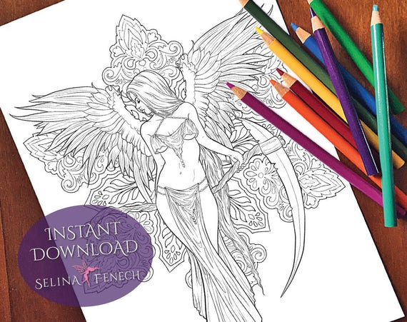 Gothic Reaper Dark Angel Coloring Page Digi Stamp Fantasy Printable Download By Selina Fenech