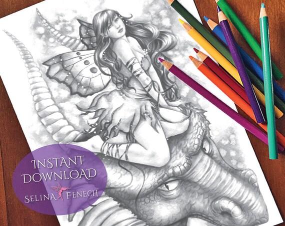 Fairies and Dragons Fairy Magic Grayscale Coloring PageDigi Stamp Fantasy Printable Download by Selina Fenech