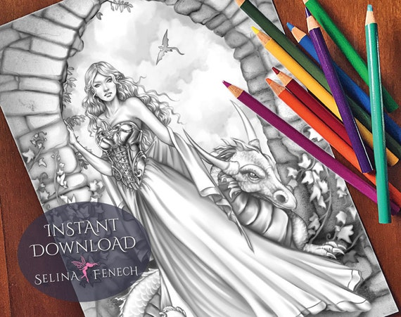 Gothic Princess Grayscale Coloring PageDigi Stamp Fantasy Printable Download by Selina Fenech