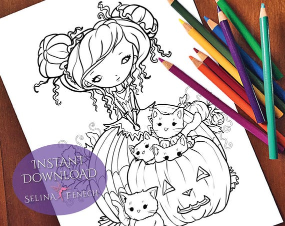 Pumpkin Patch Cats Cute And Creepy Coloring Page Digi Stamp Etsy