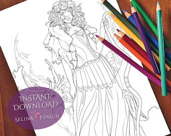 Goddess Diana Coloring Page/Digi Stamp Fantasy Printable Download by Selina Fenech