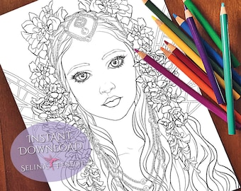 Beautiful Flower Fairy Coloring Page/Digi Stamp Fantasy Printable Download by Selina Fenech