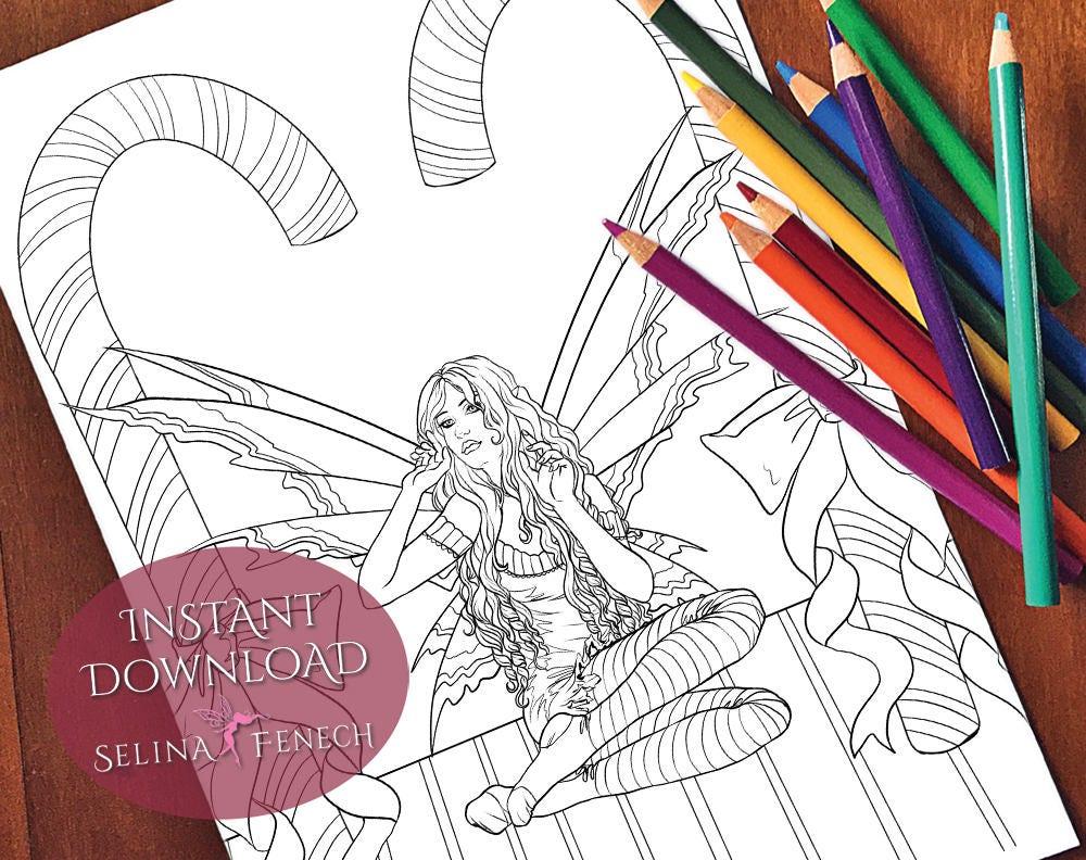 candy cane christmas fairy coloring page digi stamp fantasy etsy. Black Bedroom Furniture Sets. Home Design Ideas