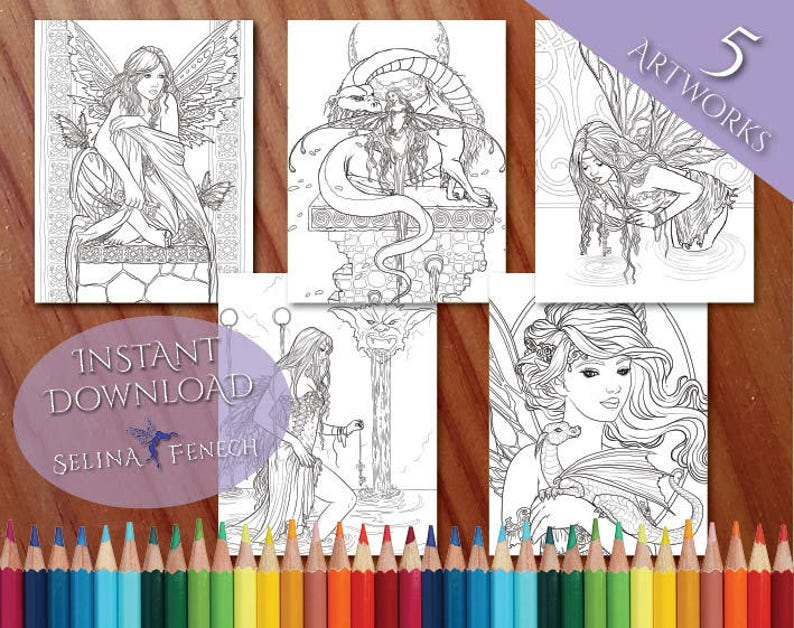 Fairies and Dragons Fairy Magic Coloring Page/Digi Stamp Fantasy Printable  Download by Selina Fenech