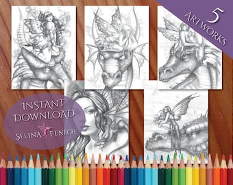 Beautiful Fairies and Dragons Grayscale Coloring Page/Digi Stamp Fantasy Printable Download by Selina Fenech