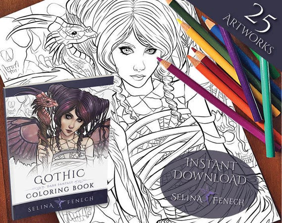 Gothic Dark Fantasy Coloring Collection Coloring Page Digi Stamp Fantasy Printable Download By Selina Fenech