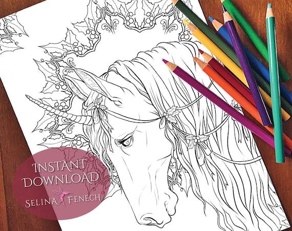 Festive Magic Unicorns Dragons Coloring PageDigi Stamp Fantasy Printable Download by Selina Fenech