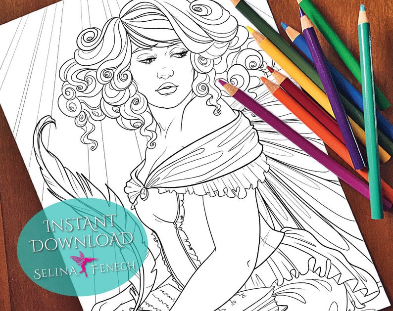 Fairy Portraits Fairy Scribe Coloring PageDigi Stamp Fantasy Printable Download by Selina Fenech
