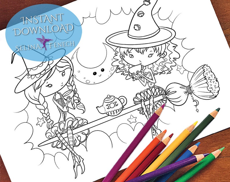 Witchy Tea Friends Faedorables Coloring PageDigi Stamp Fantasy Printable Download by Selina Fenech