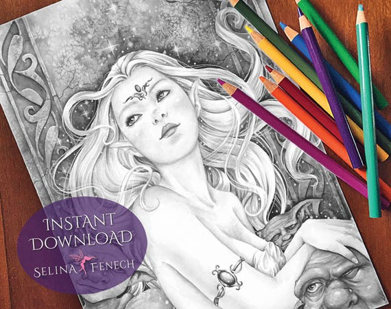 Gothic Halloween Witch Grayscale Coloring PageDigi Stamp Fantasy Printable Download by Selina Fenech