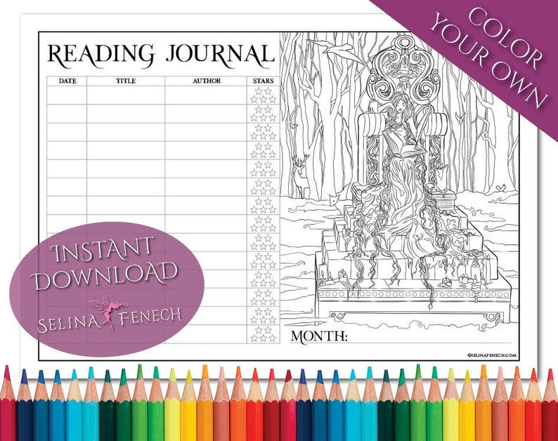 Story Keeper Reading Journal Coloring PageDigi Stamp Fantasy Printable Download by Selina Fenech